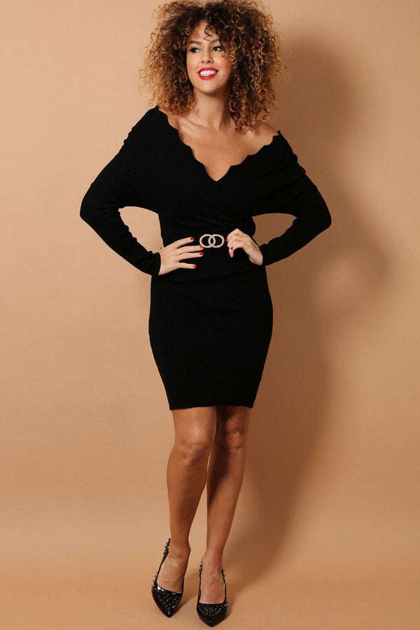 Black Scallop Wrap Neck Soft Knit Bodycon Dress-SinglePrice