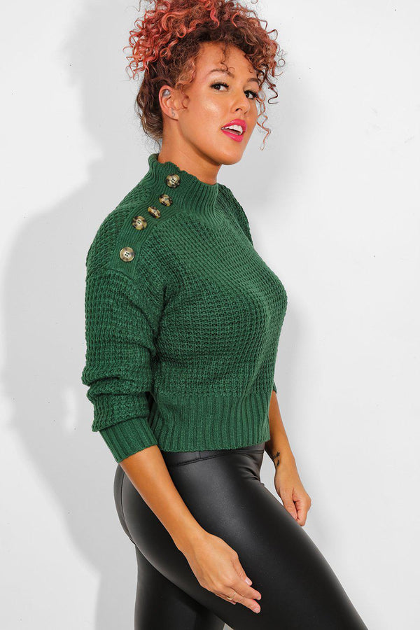 Green High Neck Buttoned Details Pullover-SinglePrice