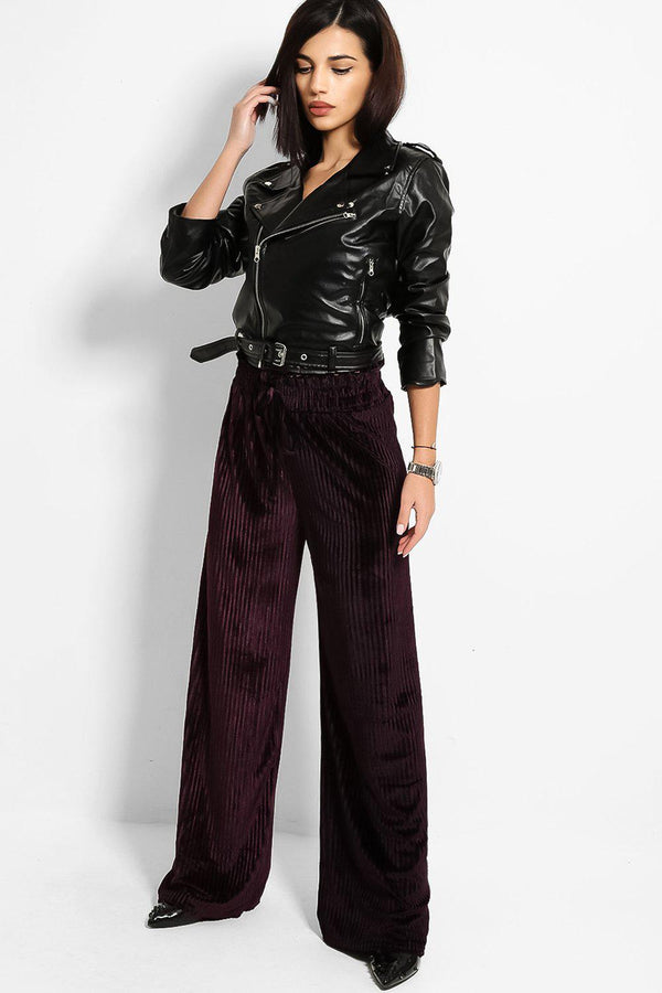 Purple Crushed Pleated Velvet Wide Leg Trousers-SinglePrice