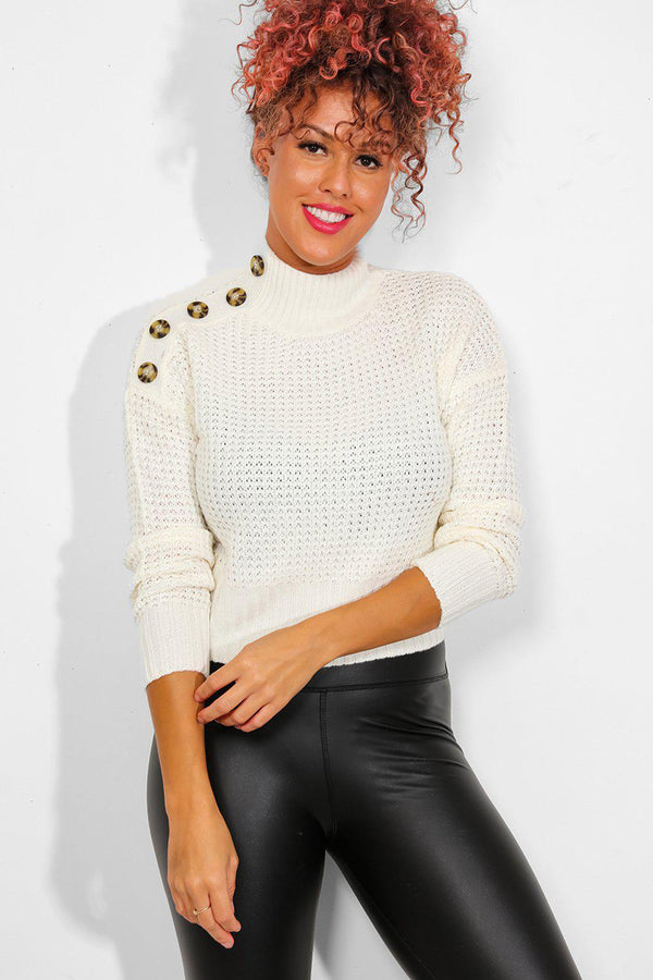 White High Neck Buttoned Details Pullover-SinglePrice