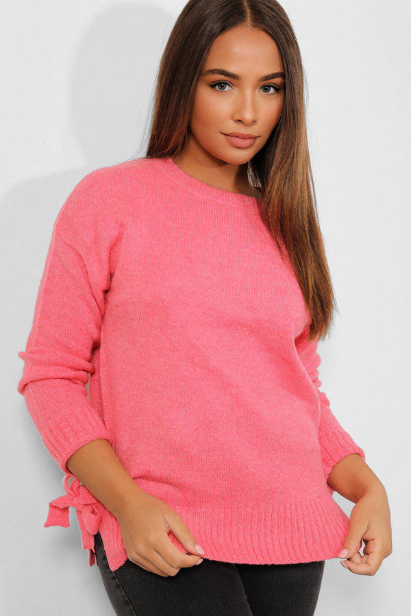 Pink Soft Knit Bow Sides Pullover - SinglePrice