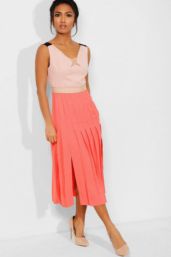Coral Sleeveless Blazer Design Pleated Midi Dress - SinglePrice