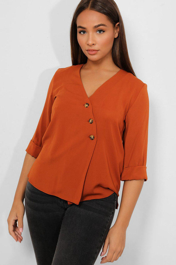 Brown Asymmetric Buttons Lightweight Blouse - SinglePrice