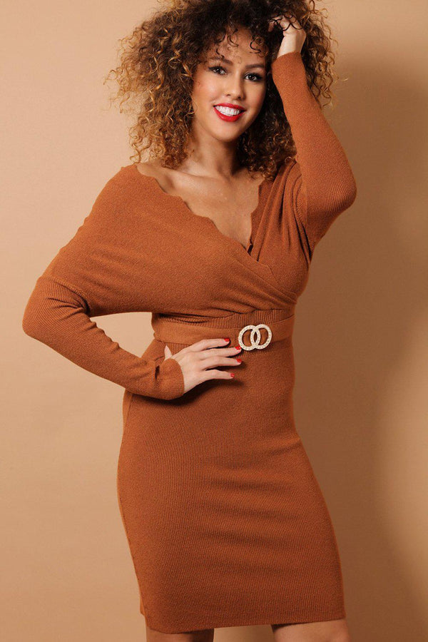 Dark Brown Scallop Wrap Neck Soft Knit Bodycon Dress-SinglePrice