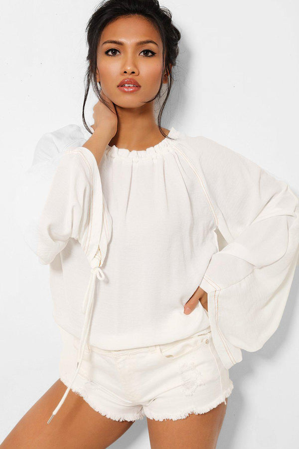 White Drawstring Sleeves Summer Top