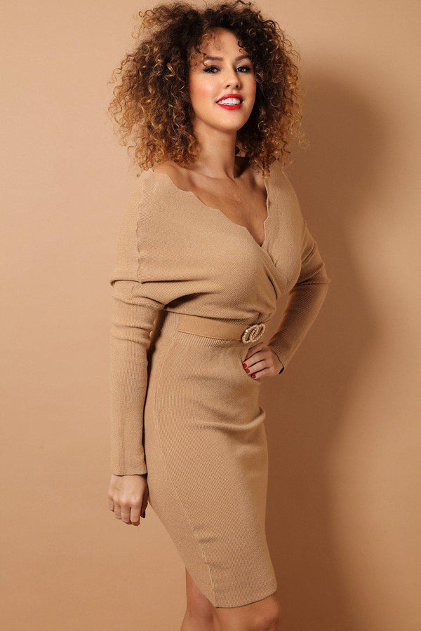 Light Brown Scallop Wrap Neck Soft Knit Bodycon Dress-SinglePrice