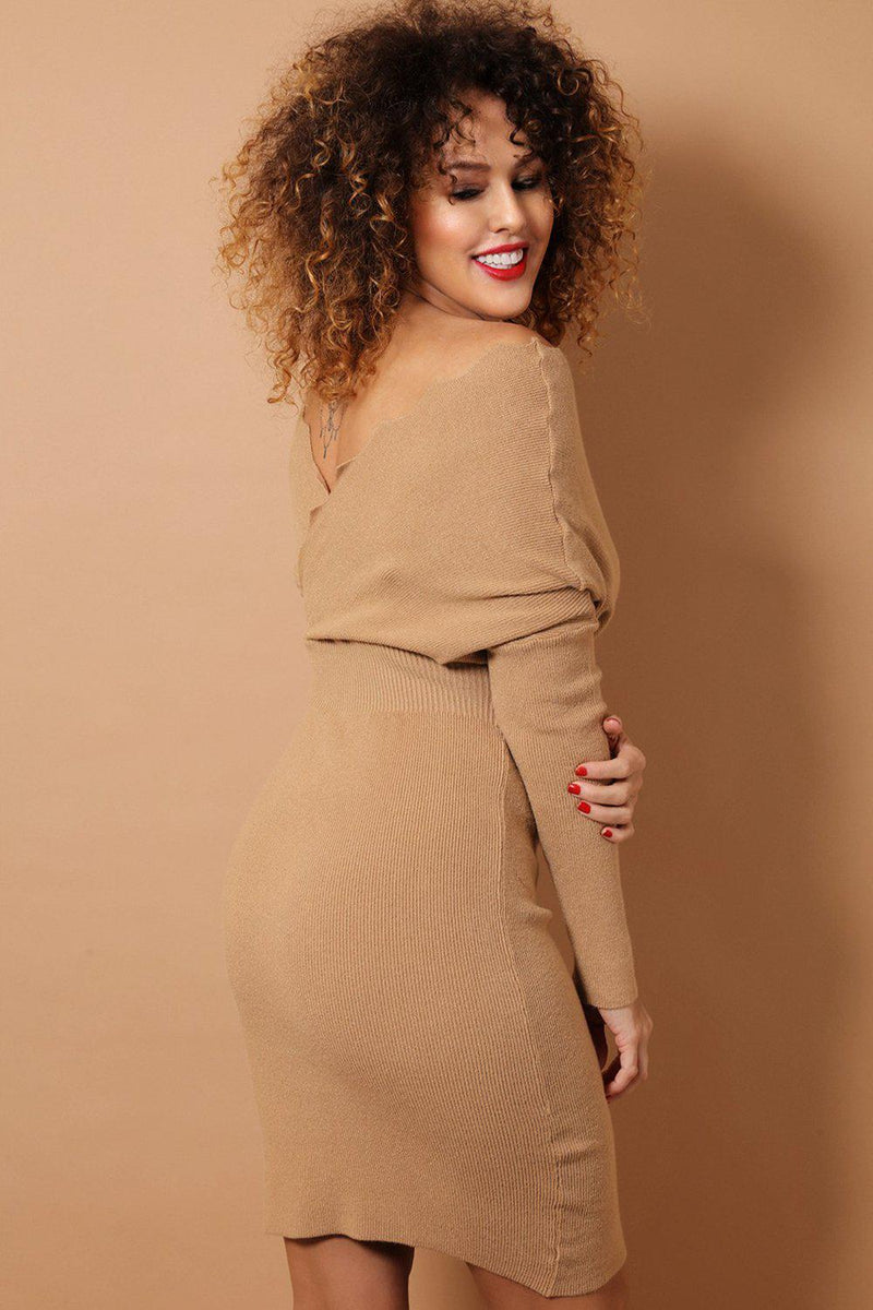 Light Brown Scallop Wrap Neck Soft Knit Bodycon Dress - SinglePrice