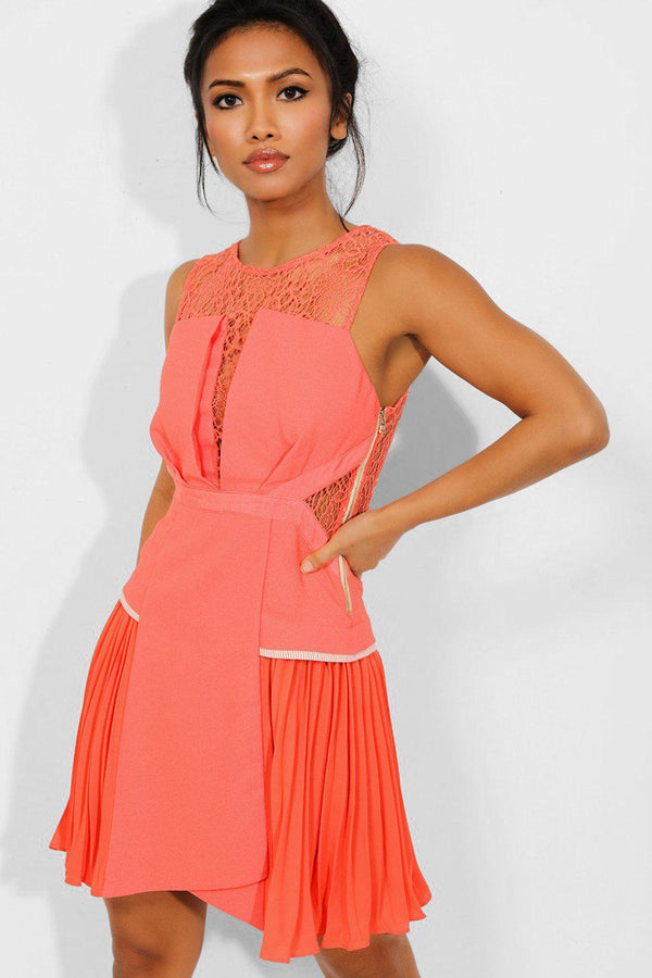 Coral Pleated Chiffon Sides And Lace Tailored Dress - SinglePrice