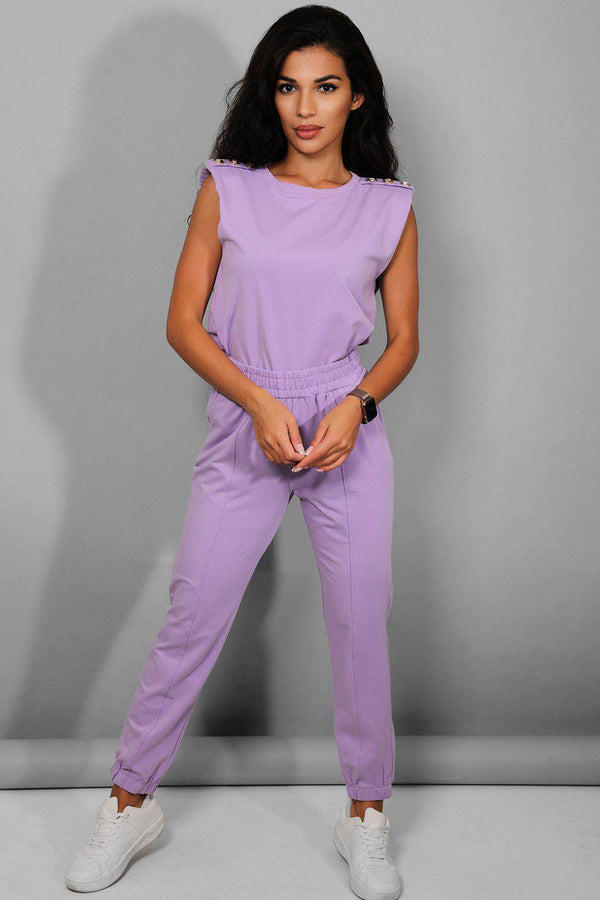 Gold Buttons Padded Shoulder Purple Lounge Set - SinglePrice