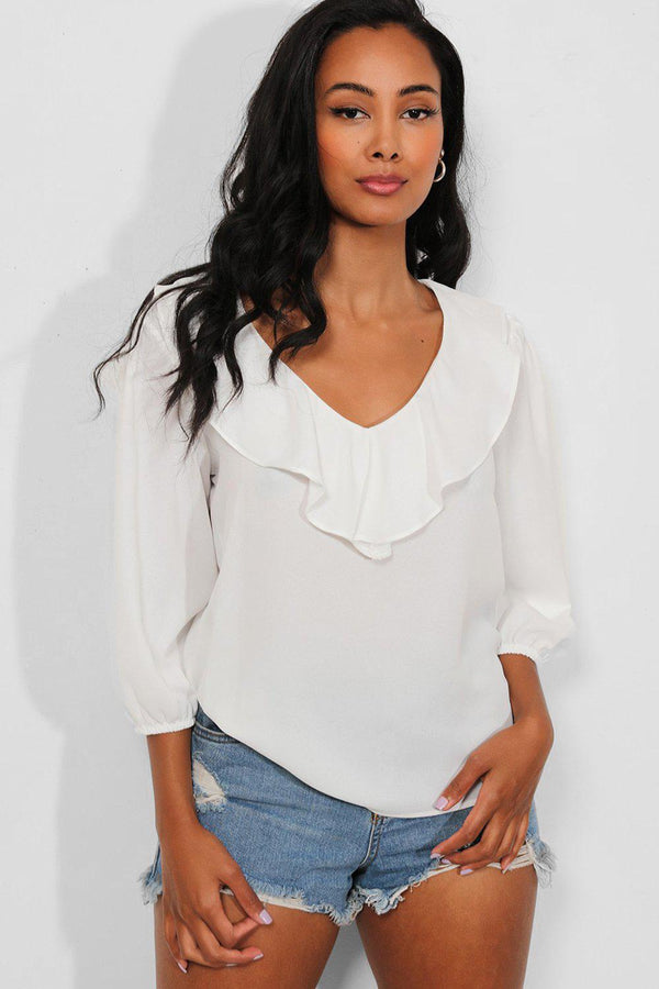 White Layered V-Neck Blouse