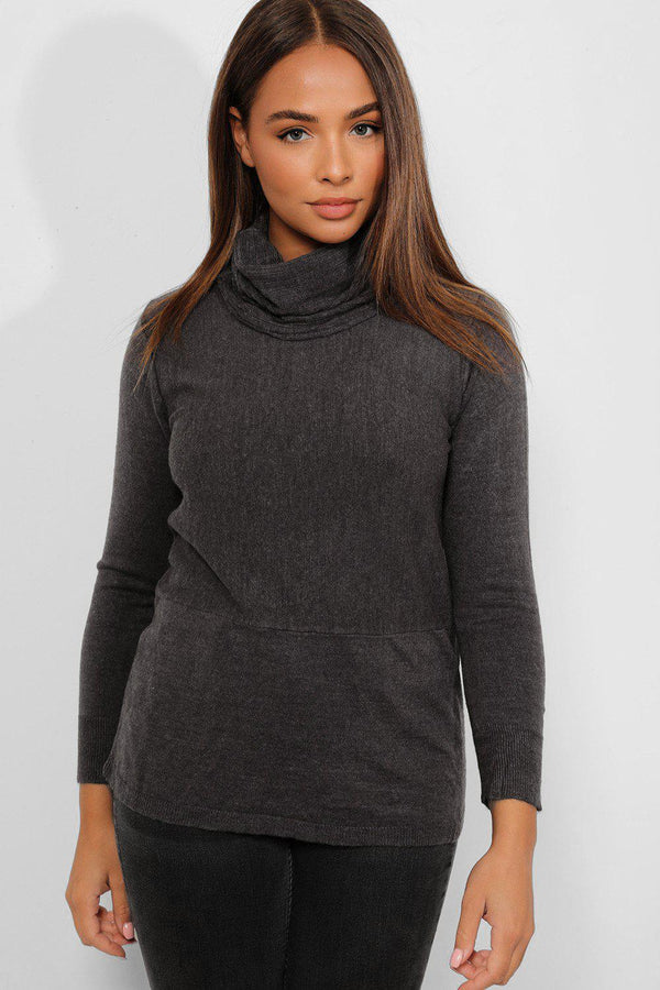 Ash Grey Turtle Neck Pullover - SinglePrice