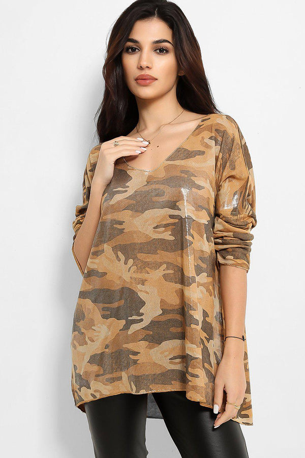 Mustard Camouflage Shimmer Print Lazy Fit Top - SinglePrice