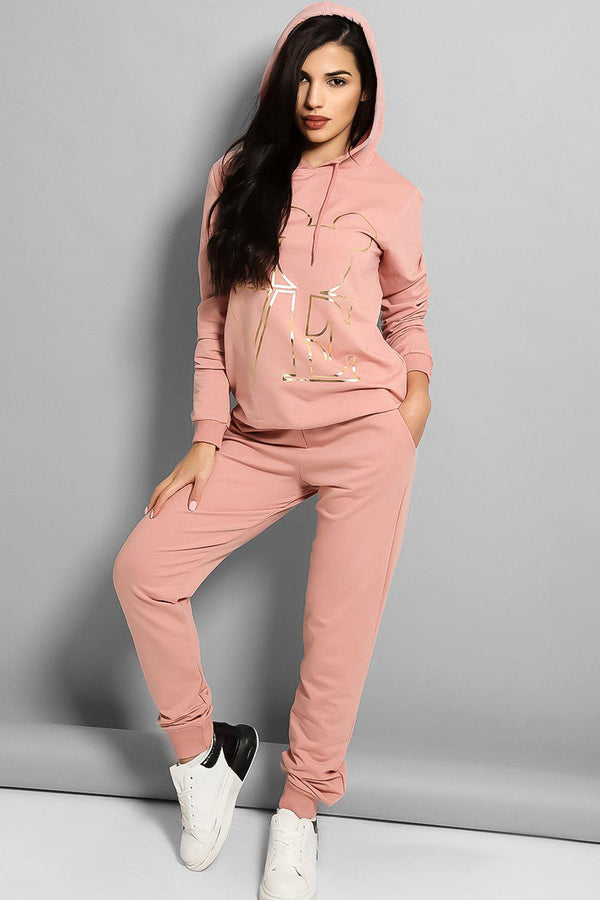 Gold Mouse Love Logo Pink Cotton Blend Tracksuit - SinglePrice