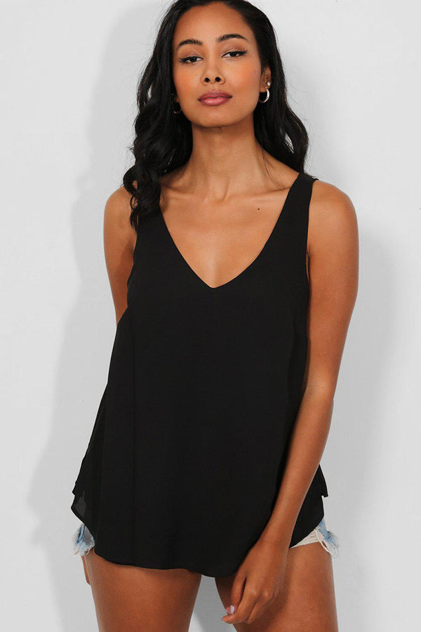 Black V-Neck And Back Classic Chiffon Sleeveless Top - SinglePrice