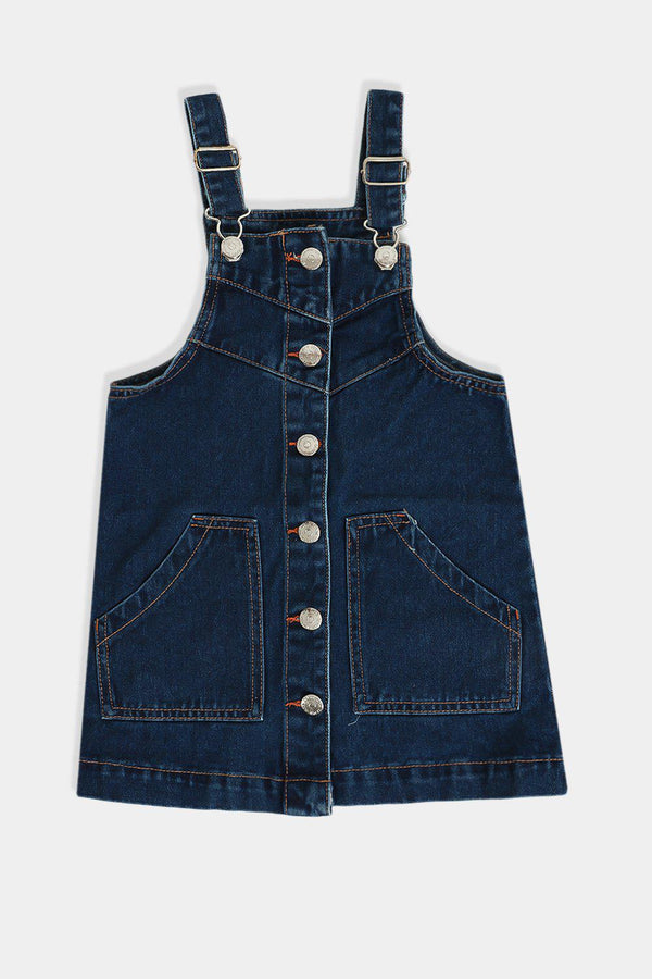 Navy Buttons Front Baby Girls Denim Dungaree Dress - SinglePrice