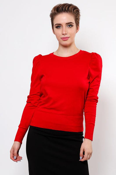 Puff Sleeve Red Fine Knit Jumper-SinglePrice