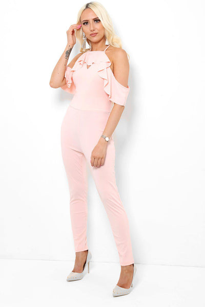 Ruffle Cold Shoulders Pink Jumpsuit-SinglePrice