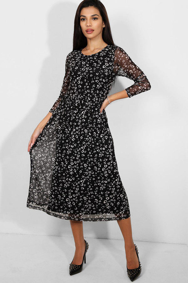 Black White Leopard Print Mesh Midi Dress - SinglePrice