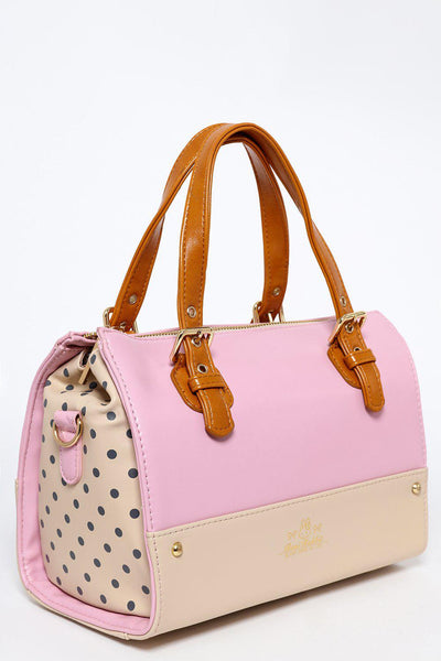Polka Dot Sides Pink Block Colour Mini Tote-SinglePrice