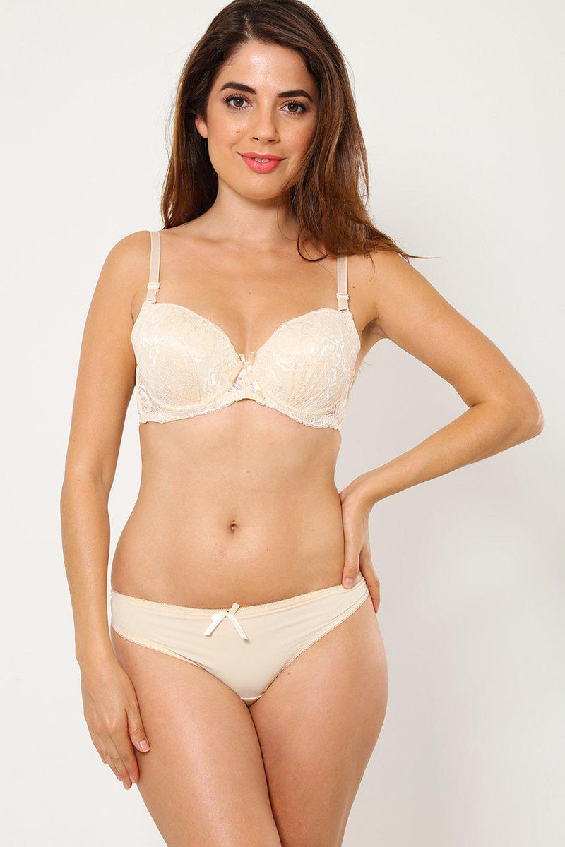 Beige Lace Bra & Tango Brief Set-SinglePrice