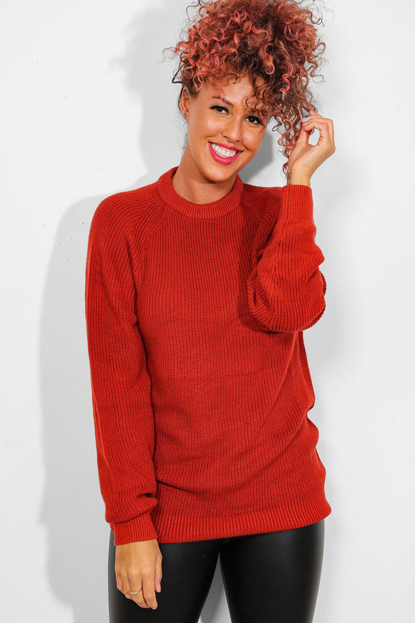 Rust Knitted Oversized Pullover