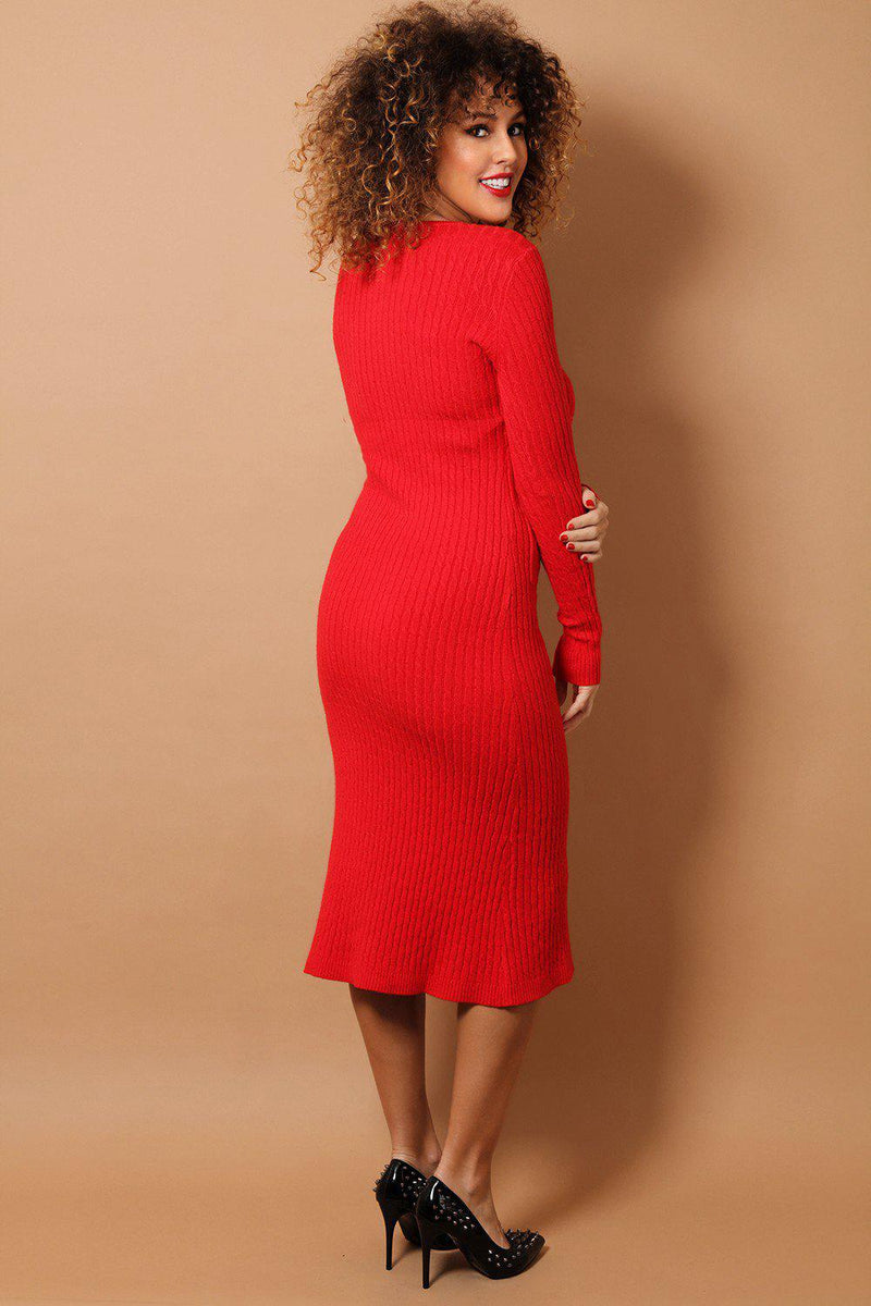 Red Braid Knit Midaxi Dress - SinglePrice