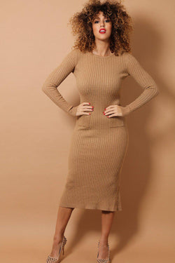 Camel Braid Knit Midaxi Dress - SinglePrice