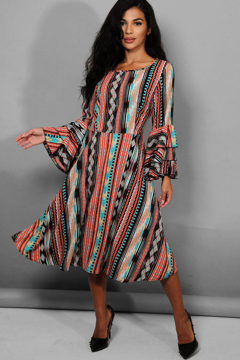 Multicolour Aztec Print Layered Sleeves Midi Dress - SinglePrice