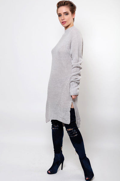 Oversized Knitted Grey Dress-SinglePrice