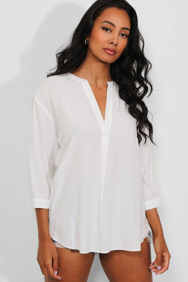 White Lightweight V-Neck Classic Shirt Blouse