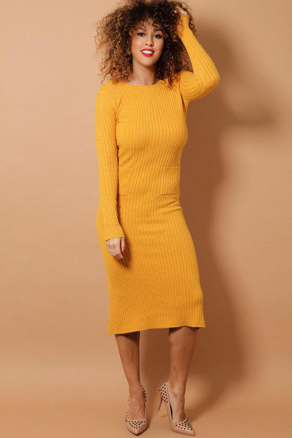 Mustard Braid Knit Midaxi Dress - SinglePrice