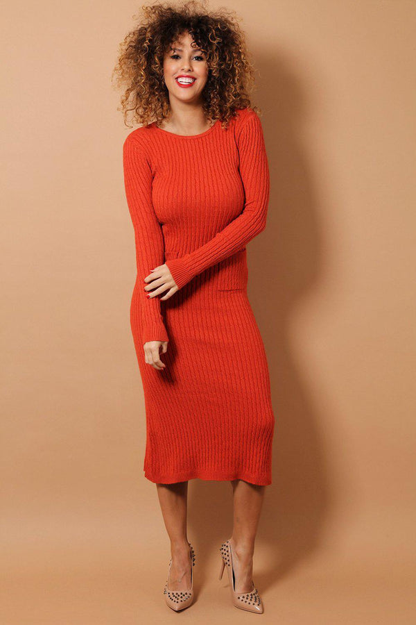 Brick Braid Knit Midaxi Dress - SinglePrice