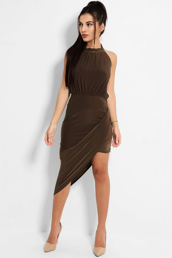Khaki Halter Neck Asymmetric Skirt Slinky Dress - SinglePrice