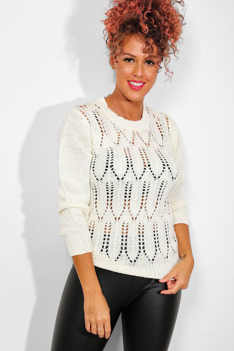 Cream Perforated Knit Pullover - SinglePrice