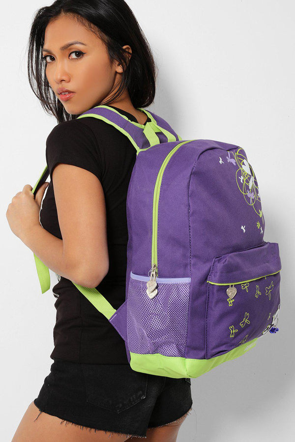 Green Dragonfly And Cat Print Purple Canvas Backpack - SinglePrice