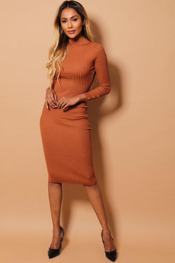 Brown High Neck Large Rib Knit Midi Bodycon Dress-SinglePrice