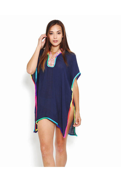 Rainbow Trim Navy Cotton Caftan-SinglePrice