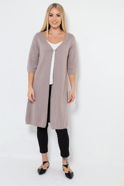 Thick Long Hook & Eye Beige Cardy-SinglePrice