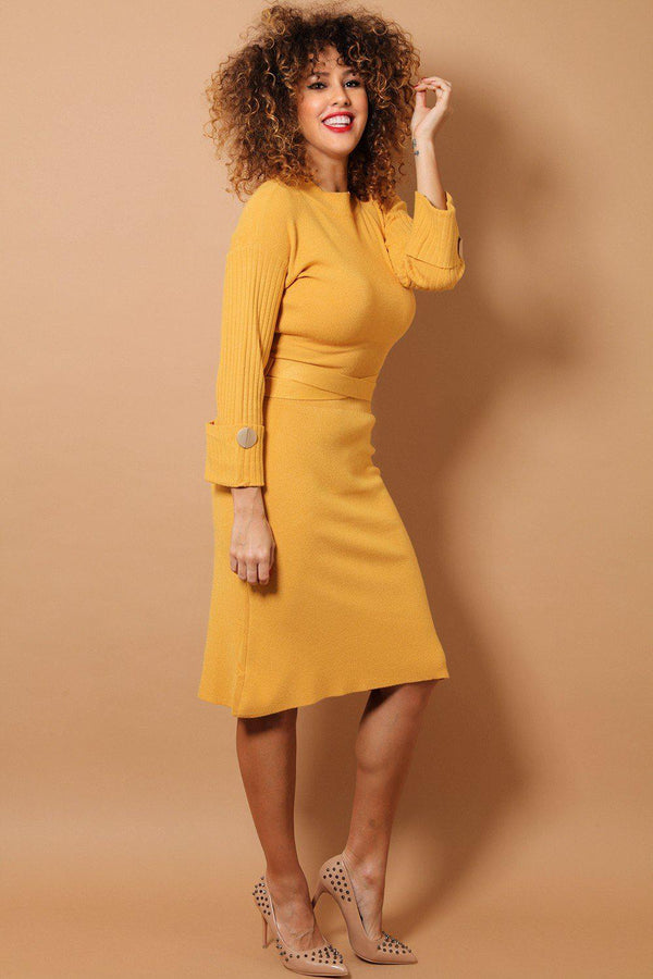 Mustard Crossed Waist Tie Midi Soft Knit Dress - SinglePrice
