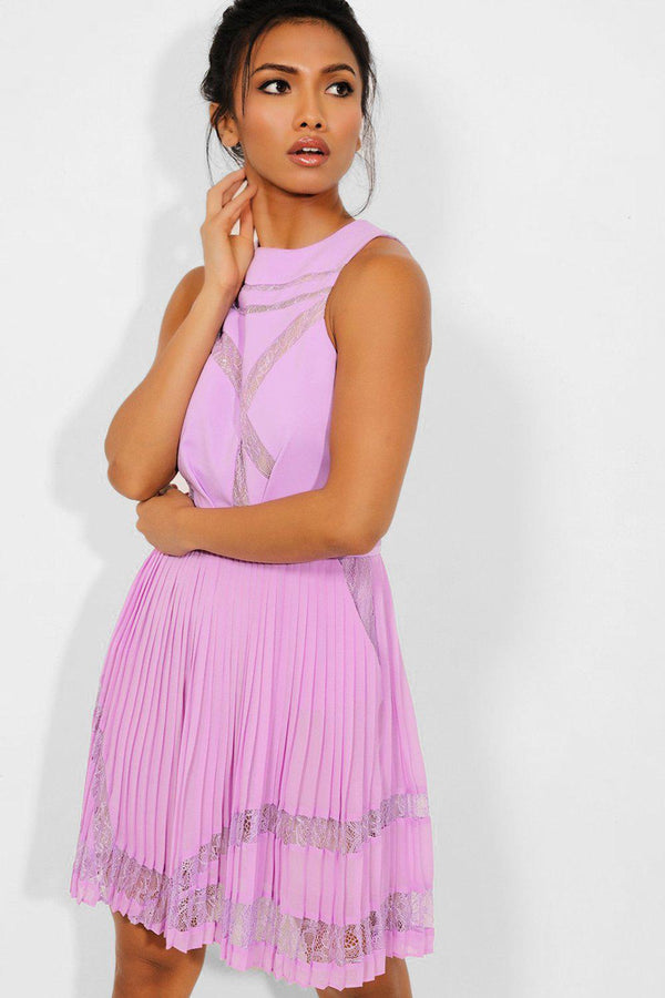 Lilac Lace Insert Sleeveless Pleated Skirt Dress - SinglePrice
