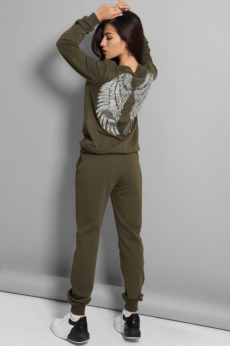 Silver Sequin Wings Back Khaki Cotton Blend Tracksuit-SinglePrice