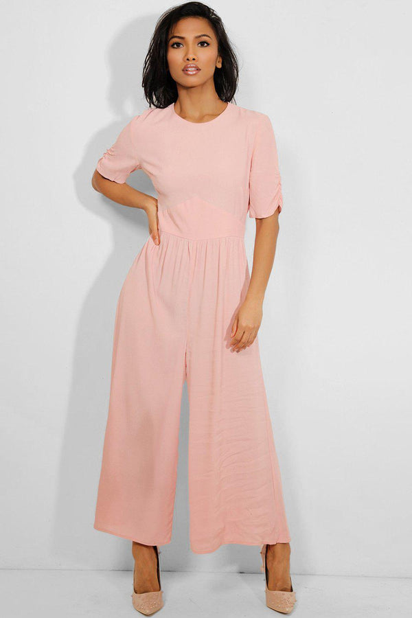 Pink Cut Out Back Wide Leg Jumpsuit - SinglePrice