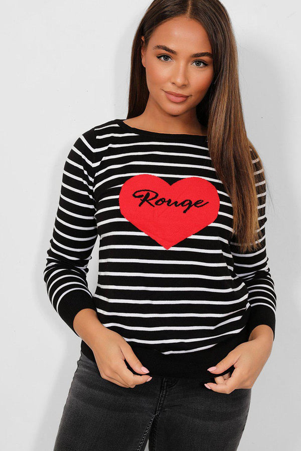 Black Stripy Heart Front Pullover-SinglePrice