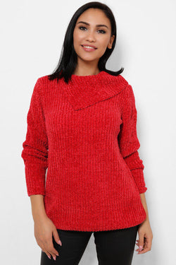 Cherry Red Split High Neck Velvet Pullover - SinglePrice