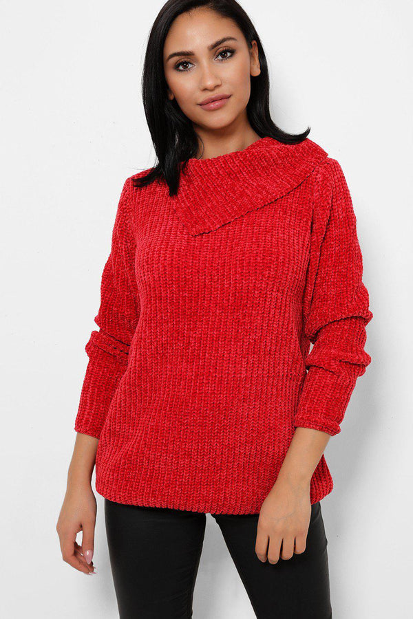 Cherry Red Split High Neck Velvet Pullover-SinglePrice