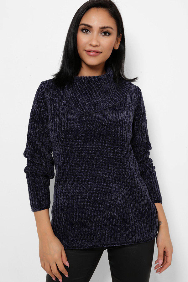 Navy Split High Neck Velvet Pullover-SinglePrice