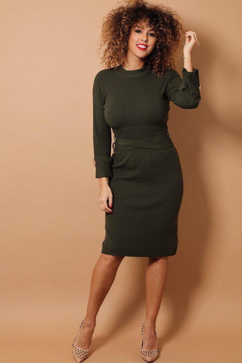 Khaki Crossed Waist Tie Midi Soft Knit Dress - SinglePrice