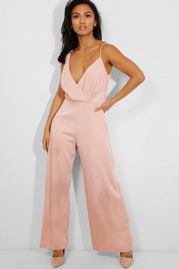 Pink V-Neck Wide Leg Satin Jumpsuit - SinglePrice