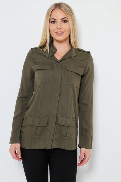 Army Green Pocketed Cotton Shirt-SinglePrice
