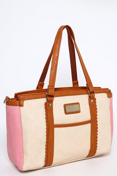 Brown Trims Pink Cream Tote-SinglePrice